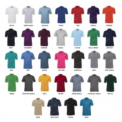 Unisex Promotional 210g Polo Shirt - colour chart